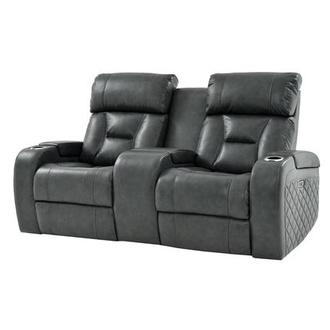 Gio Gray Leather Power Reclining Sofa w/Console