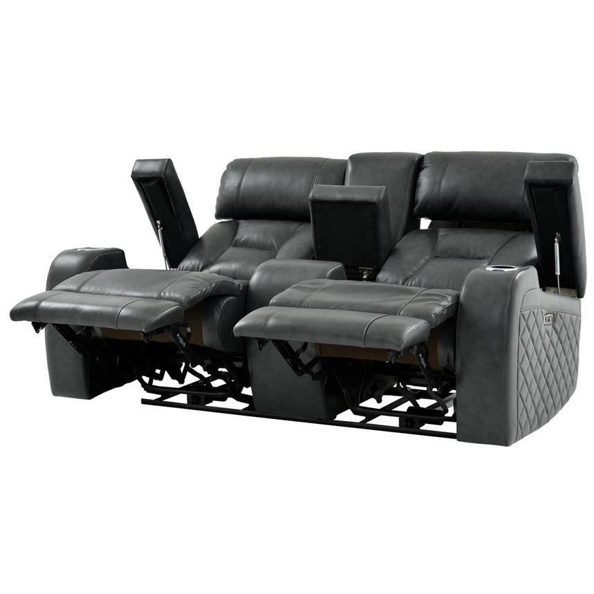 Magnificent Gio Gray Leather Power Reclining Sofa W Console Frankydiablos Diy Chair Ideas Frankydiabloscom