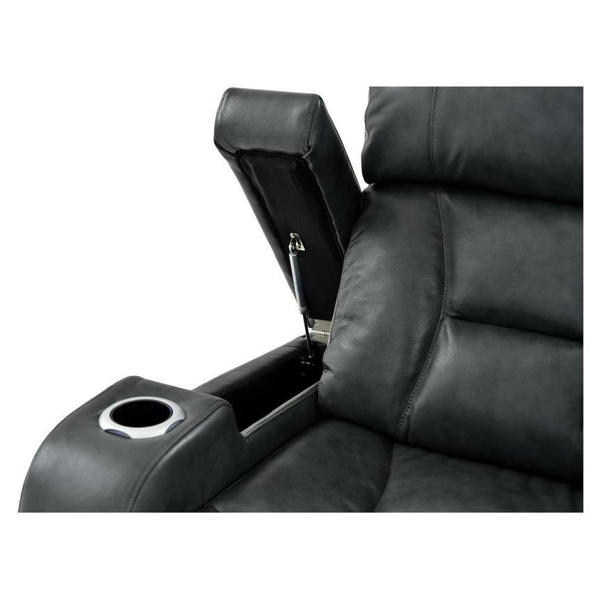 Gio Gray Leather Power Reclining Sofa w/Console  alternate image, 8 of 15 images.