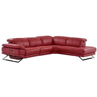Toronto Red Leather Power Reclining Sofa w/Right Chaise
