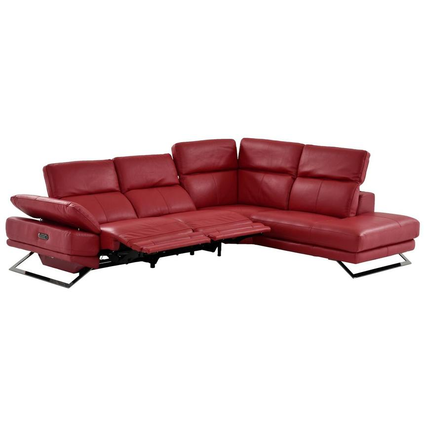 Toronto Red Power Motion Leather Sofa w/Right Chaise  alternate image, 3 of 12 images.