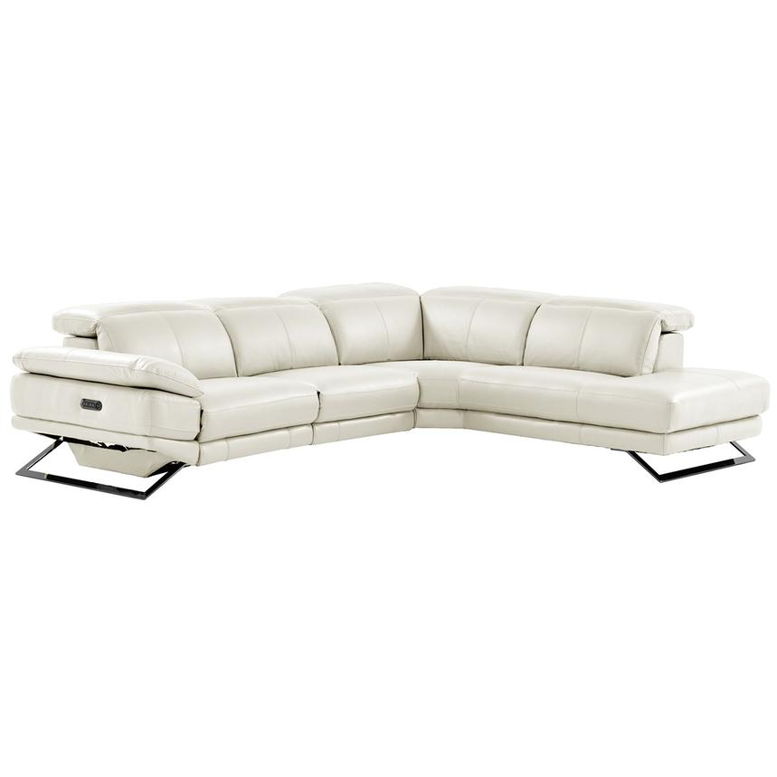 Toronto White Leather Power Reclining Sofa w/Right Chaise  main image, 1 of 11 images.