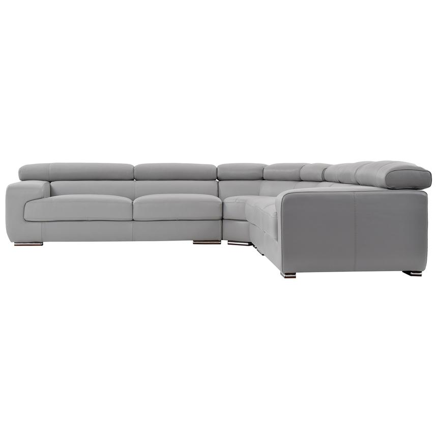Grace Light Gray Leather Sectional Sofa | El Dorado Furniture