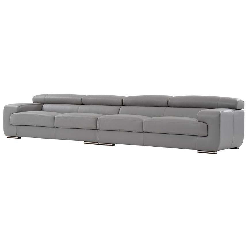 Grace Light Gray Oversized Leather Sofa  alternate image, 2 of 7 images.