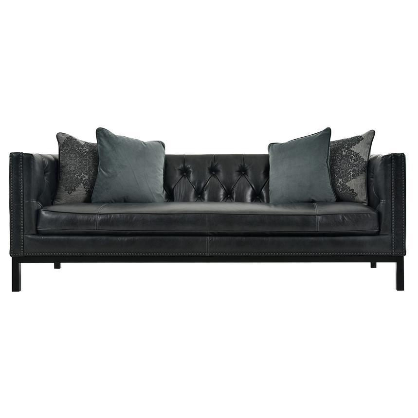 Sophia Black Leather Sofa | El Dorado Furniture