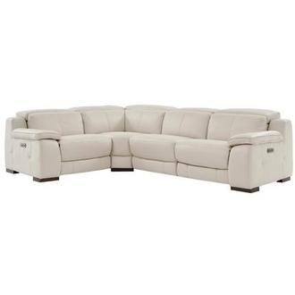 Gian Marco Light Gray Leather Power Reclining Sectional
