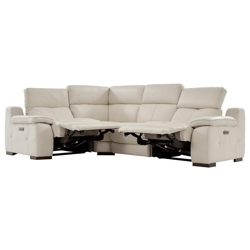 Gian Marco Cream Leather Power Reclining Sectional  alternate image, 2 of 6 images.