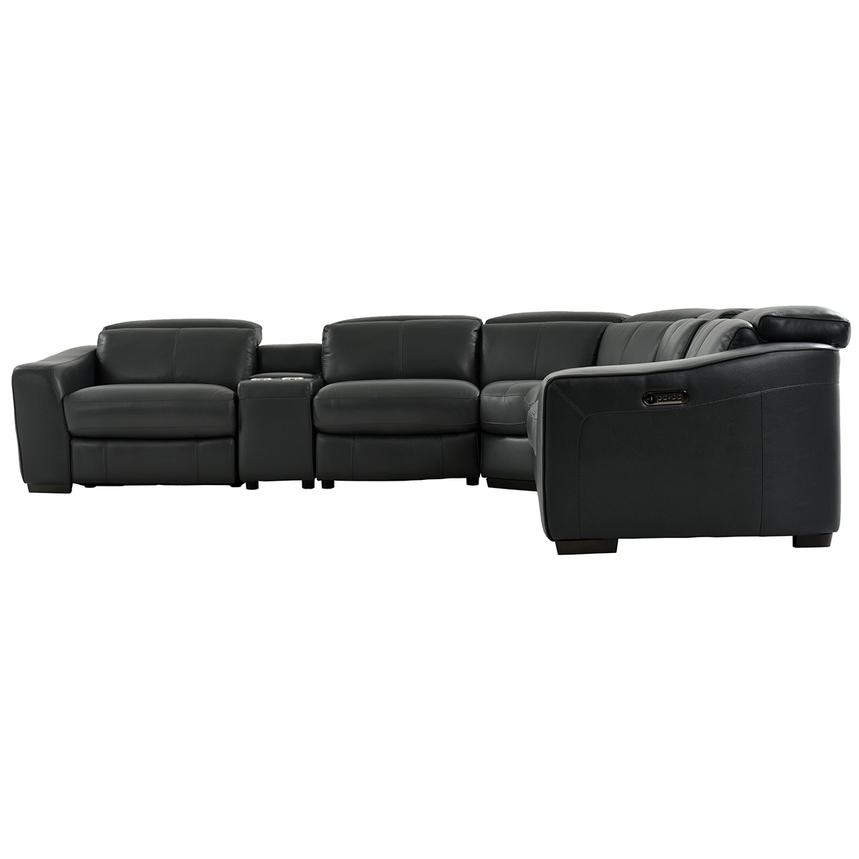 Jay Dark Gray Power Motion Leather Sofa w/Right & Left Recliners  alternate image, 3 of 7 images.
