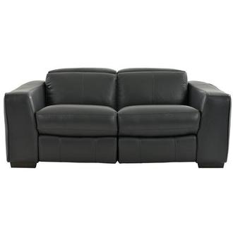Jay Dark Gray Leather Power Reclining Loveseat