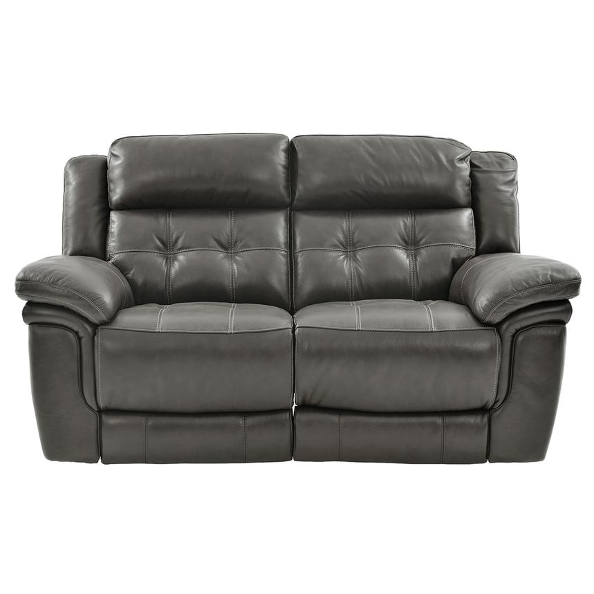 Stallion Gray Leather Power Reclining Loveseat  main image, 1 of 10 images.