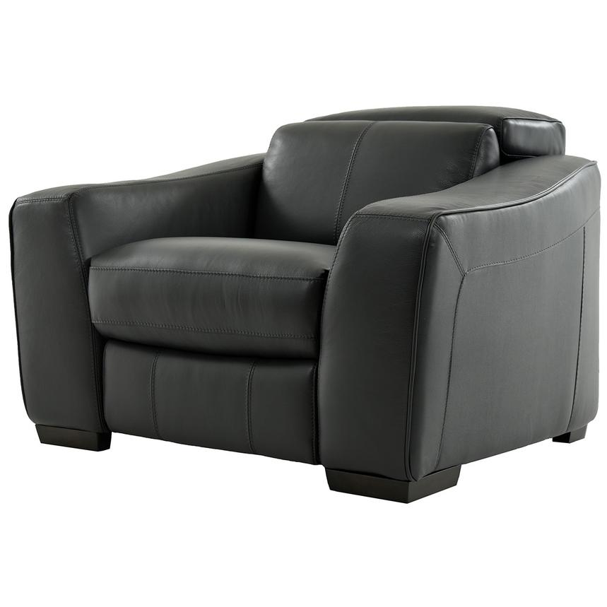 Jay Dark Gray Power Motion Leather Recliner  alternate image, 2 of 6 images.