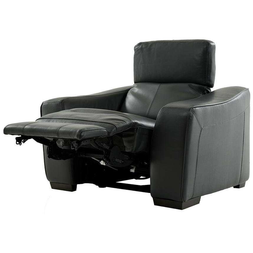 Jay Dark Gray Power Motion Leather Recliner  alternate image, 3 of 6 images.