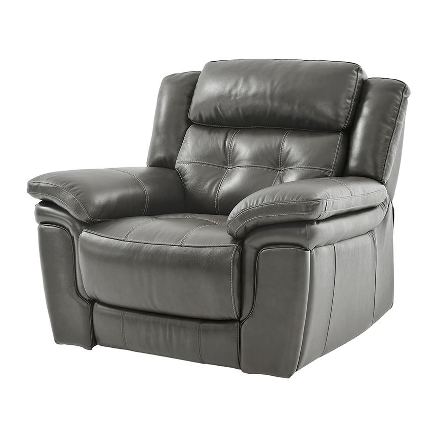 Stallion Gray Leather Power Recliner  alternate image, 2 of 8 images.