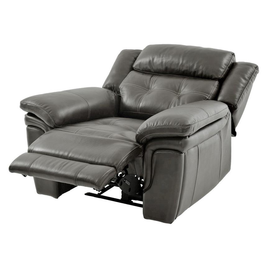Stallion Gray Leather Power Recliner  alternate image, 3 of 9 images.