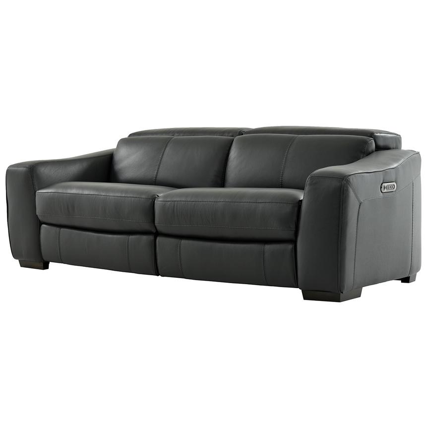 Jay Dark Gray Leather Power Reclining Sofa  alternate image, 2 of 7 images.