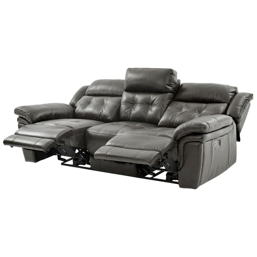 Stallion Gray Leather Power Reclining Sofa  alternate image, 3 of 10 images.