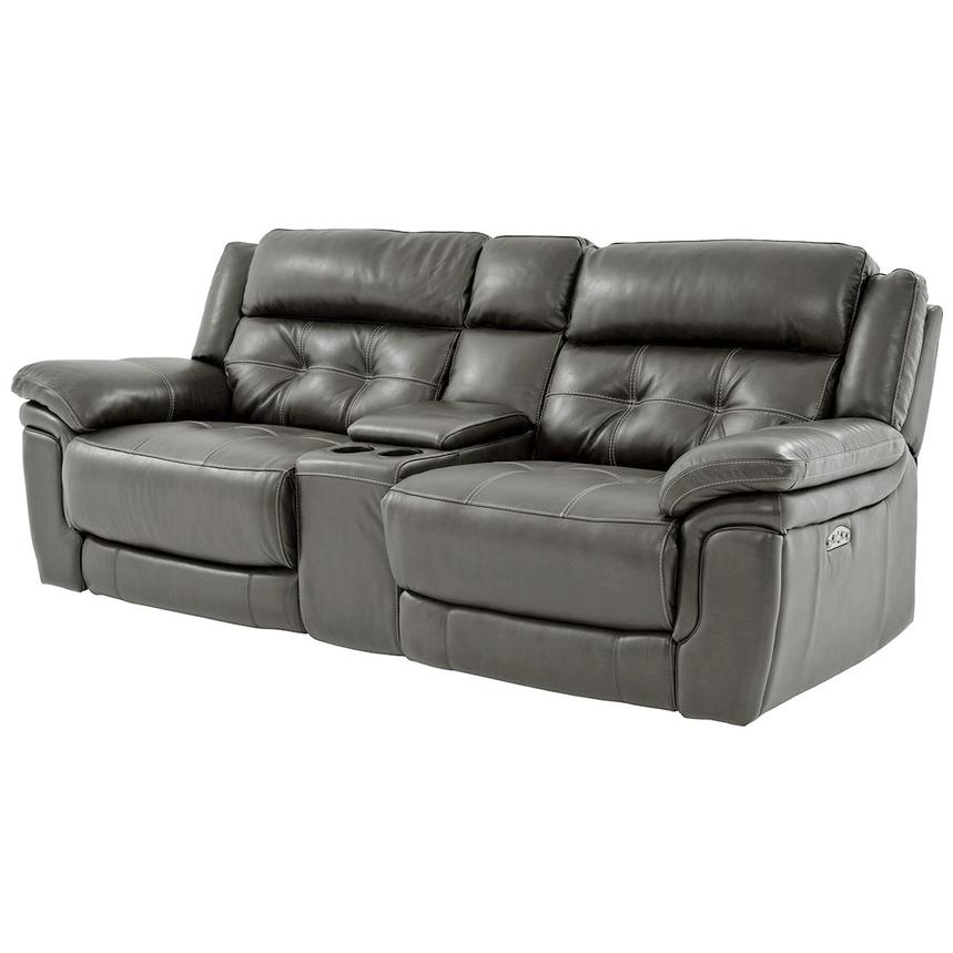 Stallion Gray Leather Sofa w/Console  alternate image, 2 of 9 images.