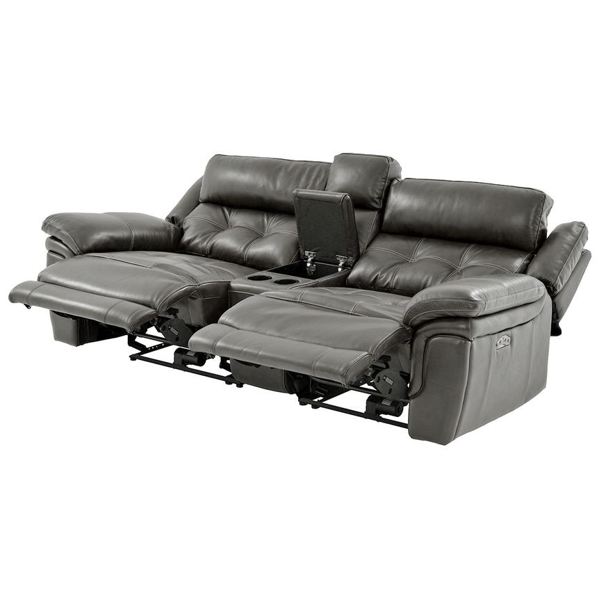Stallion Gray Leather Power Reclining Sofa w/Console  alternate image, 3 of 10 images.
