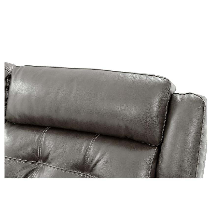 Stallion Gray Leather Sofa w/Console  alternate image, 7 of 9 images.