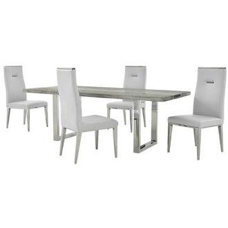 Skyscraper/Hyde I White 5-Piece Formal Dining Set