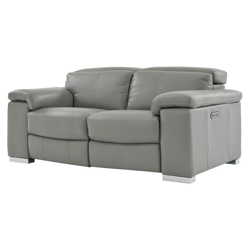 Charlie Gray Leather Power Reclining Loveseat  alternate image, 2 of 7 images.