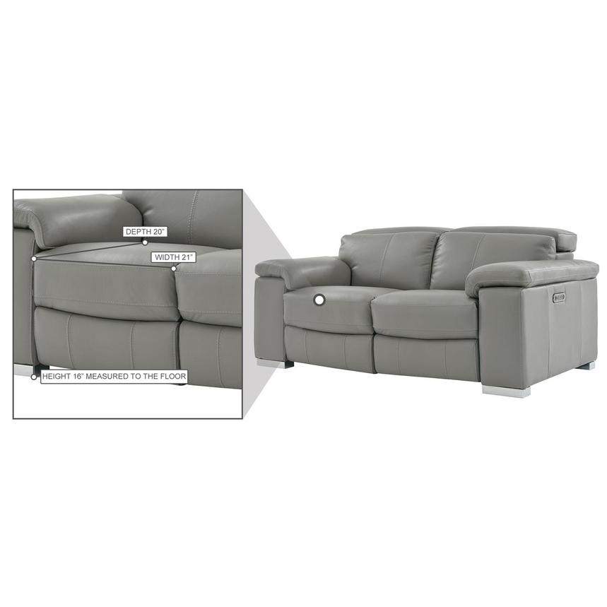 Charlie Gray Leather Power Reclining Loveseat  alternate image, 9 of 11 images.