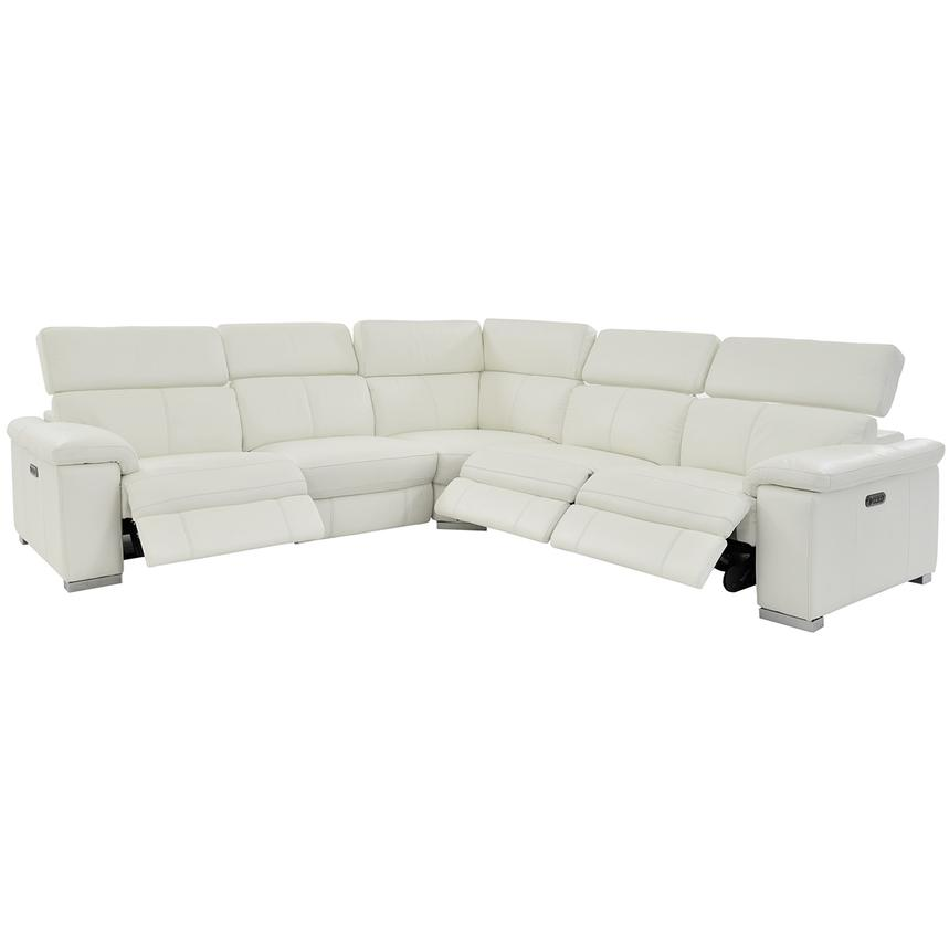 Charlie White Power Motion Leather Sofa w/Right & Left Recliners  alternate image, 2 of 8 images.