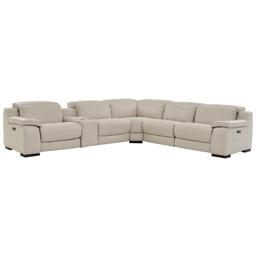 Gian Marco Cream Leather Power Reclining Sectional  main image, 1 of 9 images.