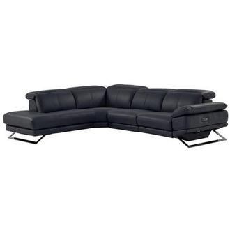 Toronto Dark Gray Power Motion Leather Sofa w/Left Chaise