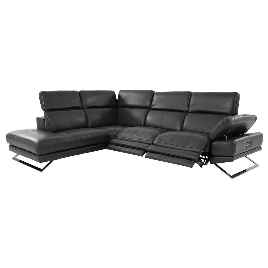 Toronto Dark Gray Leather Power Reclining Sofa w/Left Chaise  alternate image, 2 of 10 images.