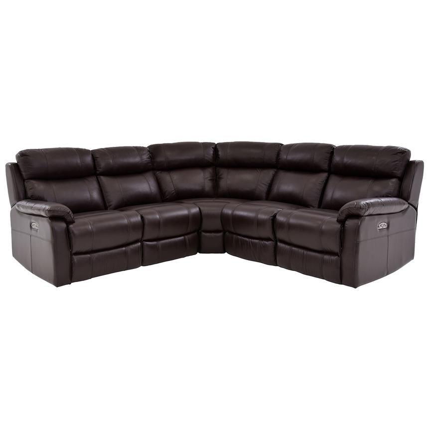 Ronald 2.0 Brown Leather Power Reclining Sectional  main image, 1 of 6 images.