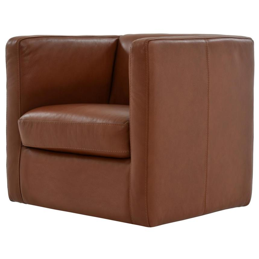 Cute Brown Leather Swivel Chair  alternate image, 4 of 8 images.