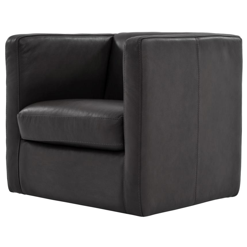 Cute Dark Gray Leather Swivel Chair  alternate image, 2 of 6 images.