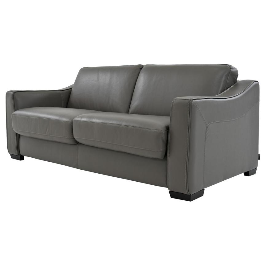 Chandler Gray Leather Sleeper El Dorado Furniture