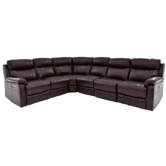 Ronald 2.0 Brown Power Motion Leather Sofa w/Right & Left Recliners