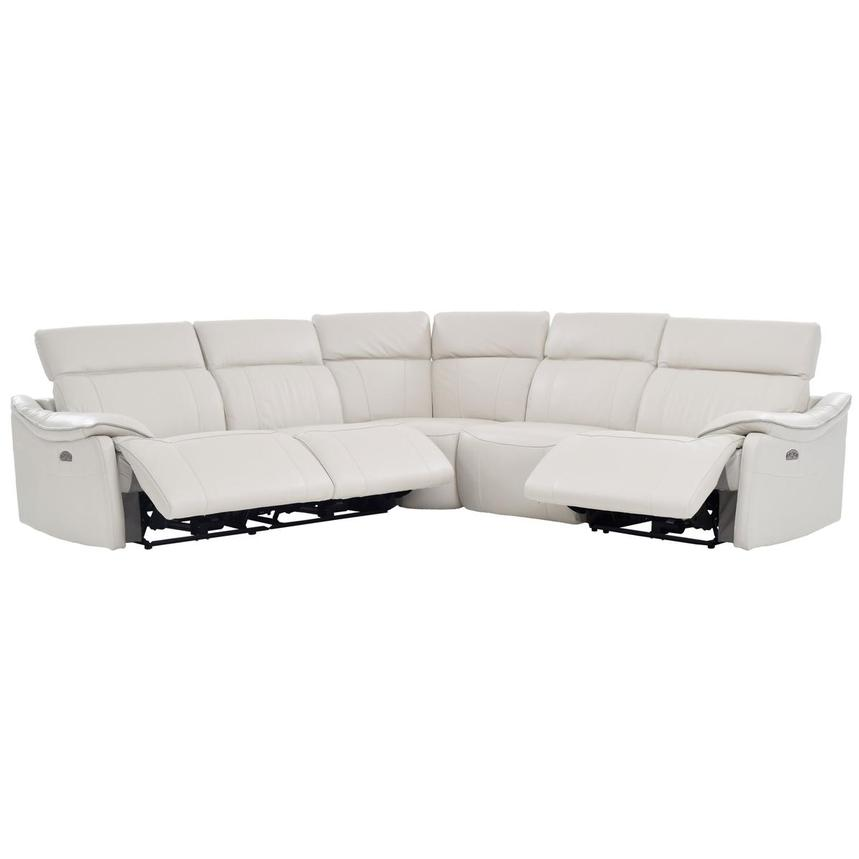 Austin White Power Motion Leather Sofa w/Right & Left Recliners