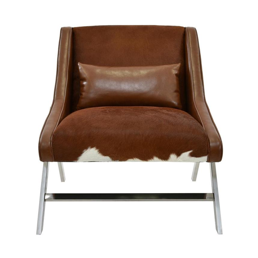 Krava Brown Leather Accent Chair W Ottoman El Dorado