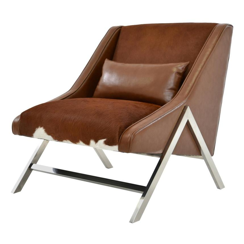 Krava Brown Leather Accent Chair w/Ottoman  alternate image, 3 of 9 images.