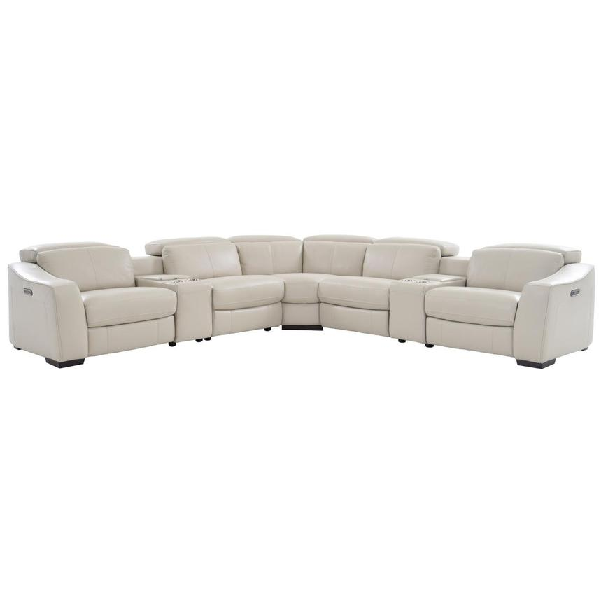 Jay Cream Power Motion Leather Sofa w/Right & Left Recliners