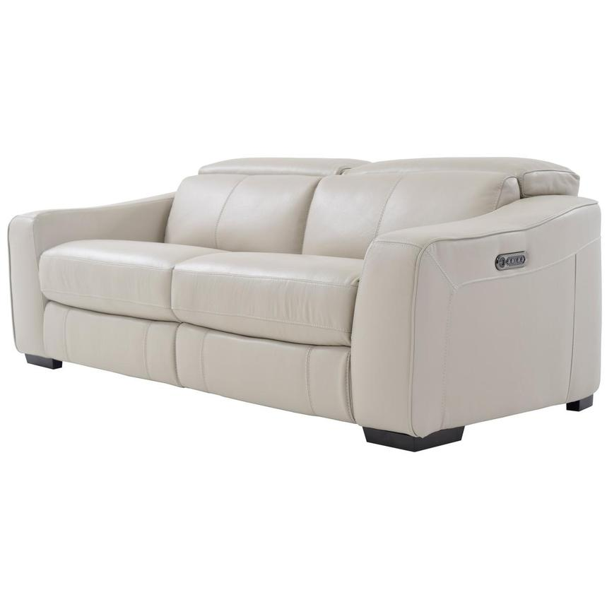 Jay Cream Leather Power Reclining Sofa  alternate image, 2 of 6 images.