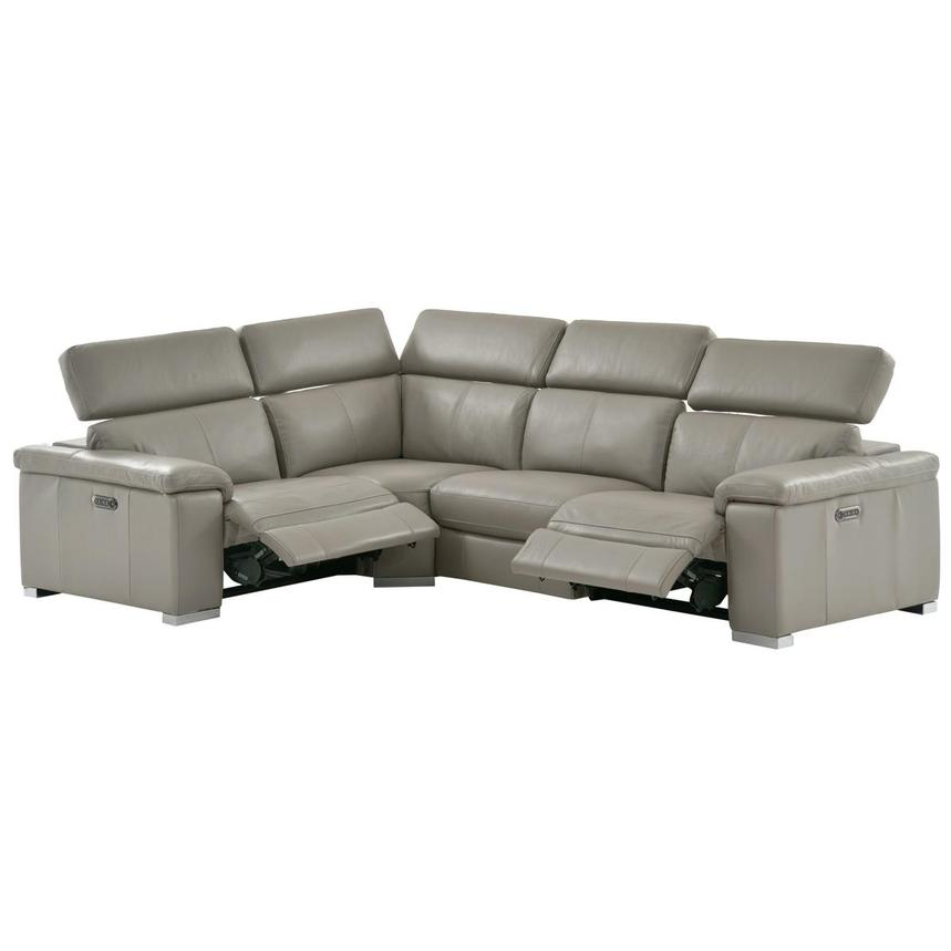 Charlie Light Gray Leather Power Reclining Sectional  alternate image, 2 of 10 images.