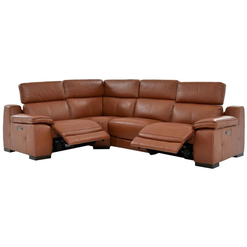 Gian Marco Tan Power Motion Leather Sofa w/Right & Left Recliners  alternate image, 2 of 6 images.