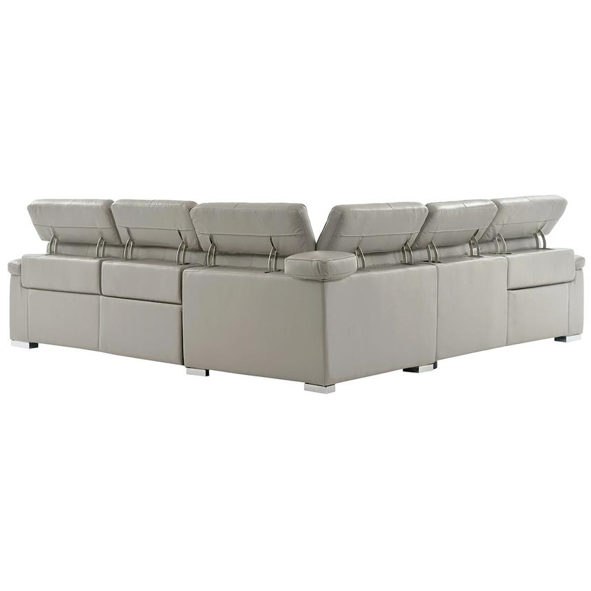 Charlie Light Gray Power Motion Leather Sofa w/Right & Left Recliners  alternate image, 3 of 9 images.