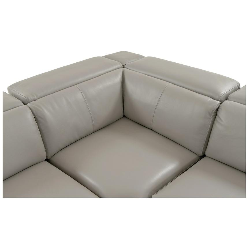 Charlie Light Gray Leather Power Reclining Sectional  alternate image, 6 of 11 images.