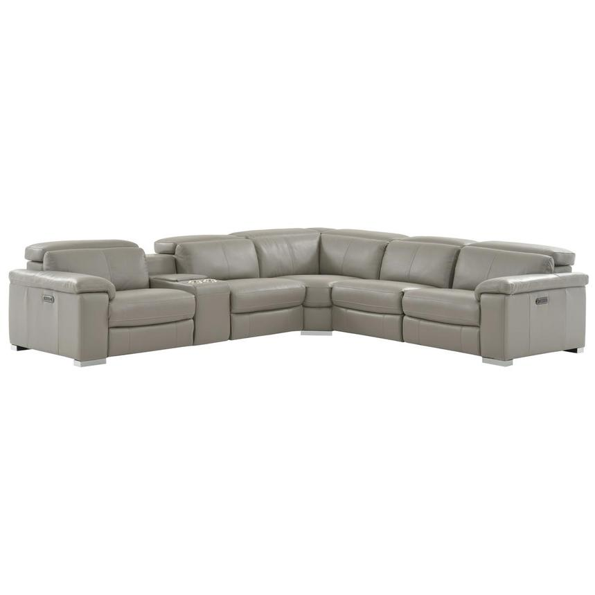 Charlie Light Gray Leather Power Reclining Sectional  main image, 1 of 11 images.