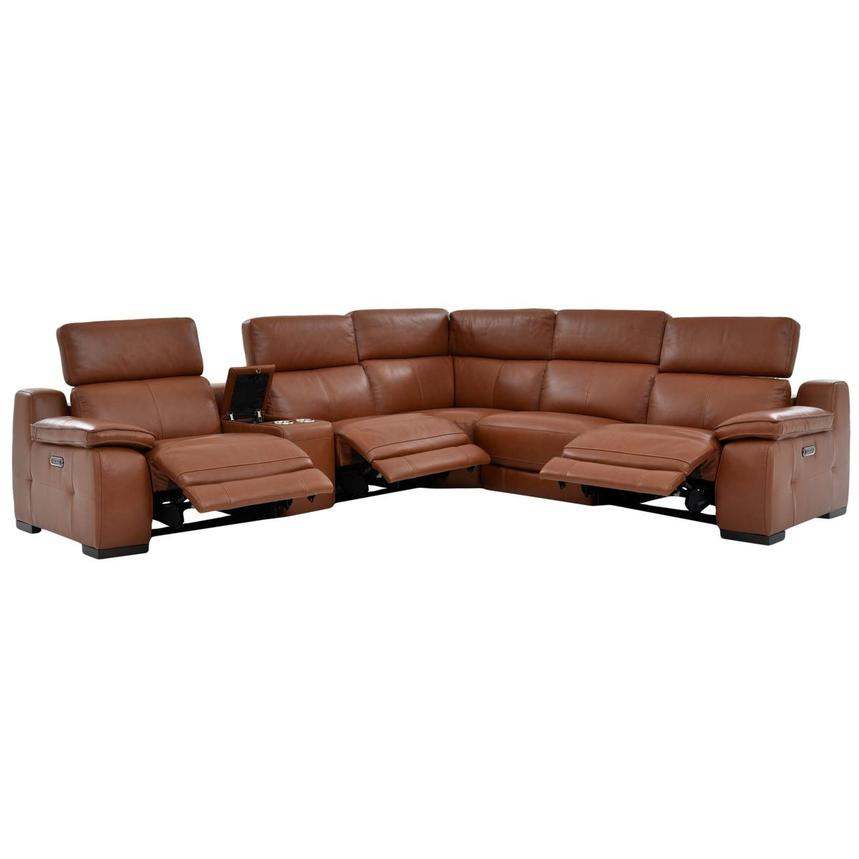 Gian Marco Tan Power Motion Leather Sofa w/Right & Left Recliners  alternate image, 2 of 7 images.
