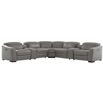 Jay Gray Leather Power Reclining Sectional