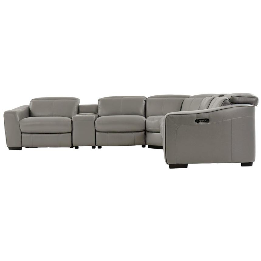 Jay Gray Power Motion Leather Sofa w/Right & Left Recliners  alternate image, 3 of 7 images.