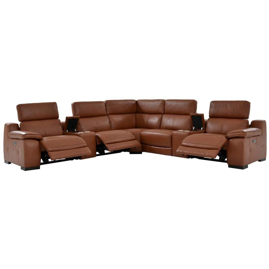 Gian Marco Tan Leather Power Reclining Sectional  alternate image, 3 of 10 images.