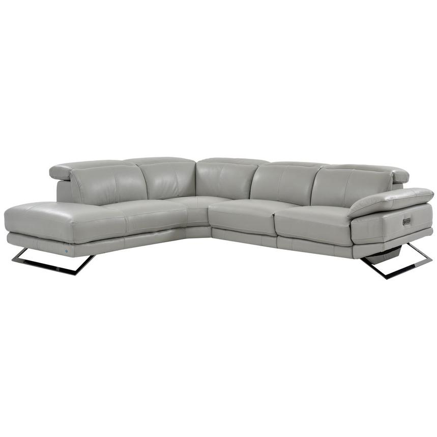 Toronto Light Gray Leather Power Reclining Sofa w/Left Chaise  main image, 1 of 7 images.